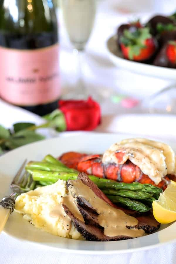 Steak au Poivre and Broiled Lobster Tail