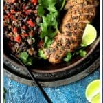Cuban Style Mojo Marinated Pork Tenderloin with Black Beans is tropics-inspired with bright, citrusy flavor and easy enough for a weeknight!