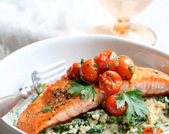 Seared Salmon with Baby Kale Quinotto and Warm Roasted Cherry Tomato Salad