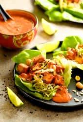 Vegan Korean Tofu Lettuce Wraps with Tahini Gochujang Sauce and Spicy Slaw