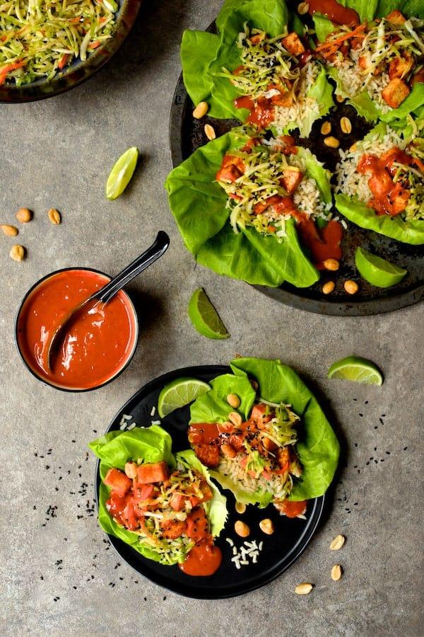 Vegan Korean Tofu Lettuce Wraps with Tahini Gochujang Sauce and Spicy Slaw - Overhead shot