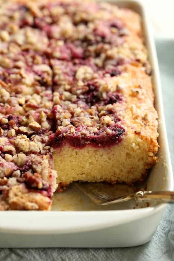 Easy Raspberry Coffee Cake - Cut into pieces looking straight on