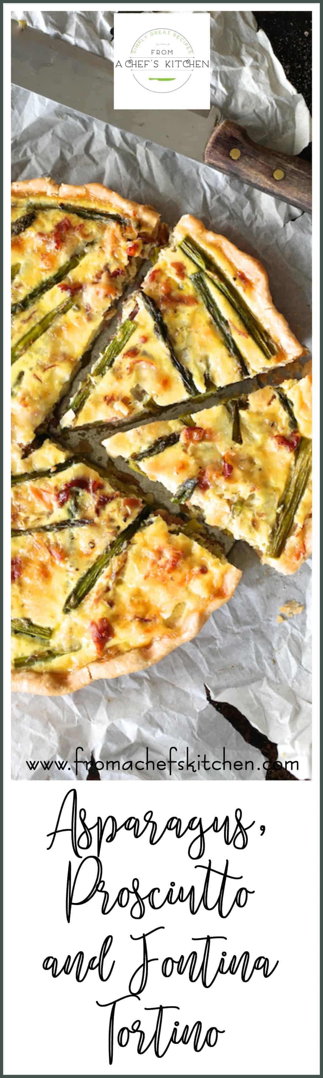 Asparagus Prosciutto and Fontina Tortino is how to turn a spring breakfast or brunch into amazing! Add a glass of Prosecco for a lovely Italian-inspired experience! #asparagus #prosciutto #tart #quiche #fontina