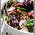 French Lentil Salad is a lovely and delicious way to ring in spring! With radishes, young green beans and baby lettuces, it's perfect for that first dinner on the patio!