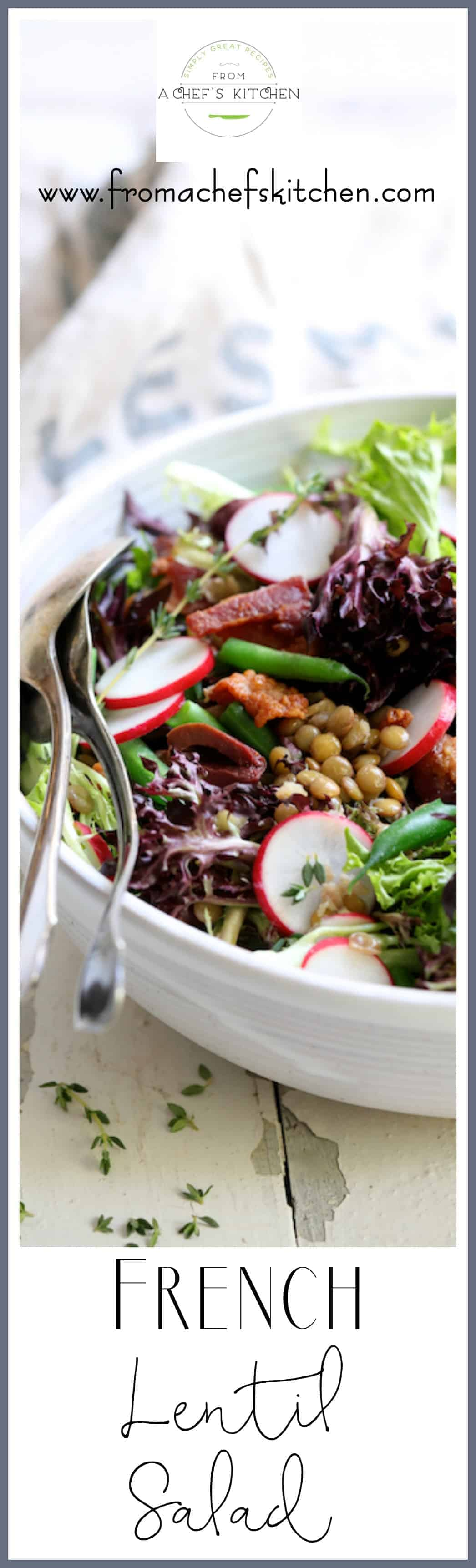 French Lentil Salad is a lovely and delicious way to ring in spring! With radishes, young green beans and baby lettuces, it's perfect for that first dinner on the patio! #french #lentil #salad #vegetable