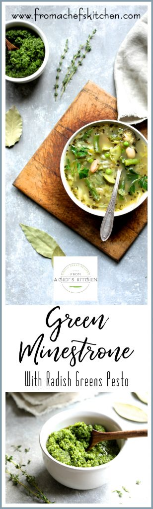 Green Minestrone with Radish Greens Pesto is a healthful taste of spring! A twist on classic Italian minestrone, this version has lots of spring vegetables which will make transitioning from cold weather to warm weather easy and delicious!
