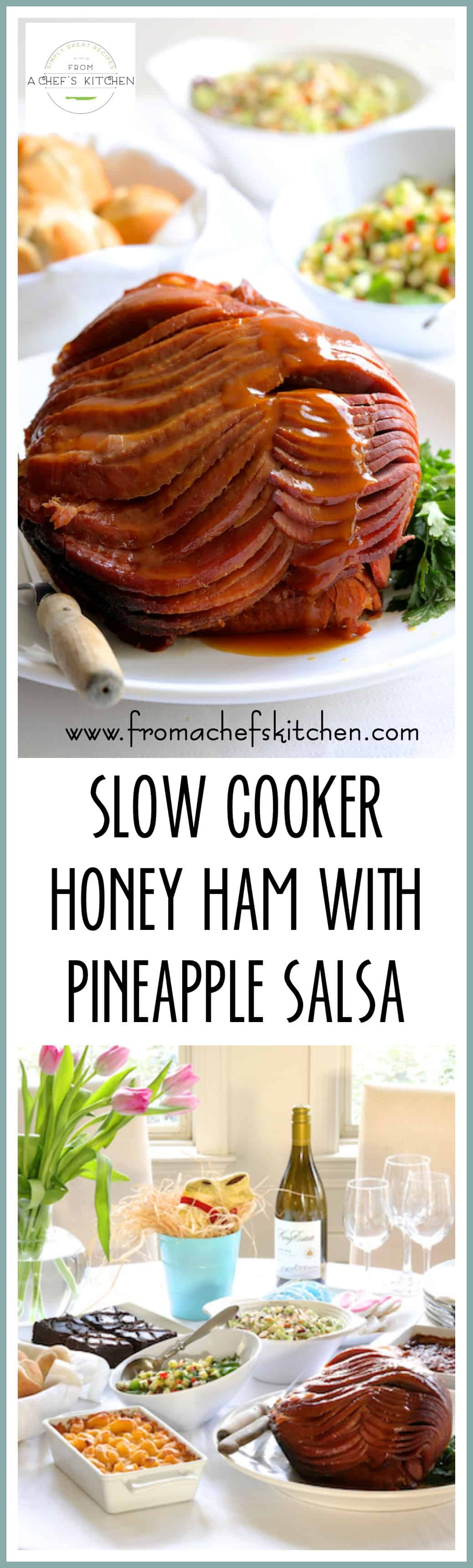 Msg 4 21+ #TFMEasterBasket #TheFreshMarket #CollectiveBias #AD - Slow Cooker Honey Ham with Pineapple Salsa and The Fresh Market Easter Meal is the way to a beautiful and stress-free Easter celebration! @TheFreshMarket