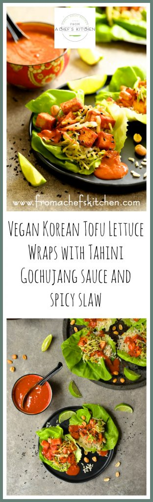Vegan Korean Tofu Lettuce Wraps with Tahini Gochujang Sauce and Spicy Slaw are the fun, flavorful and healthful way to get your Korean food fix!
