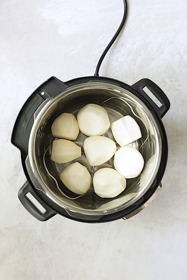 Overhead shot of turnips in Instant Pot
