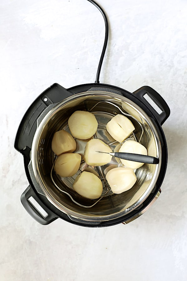 Overhead shot of whole cooked turnips in Instant Pot