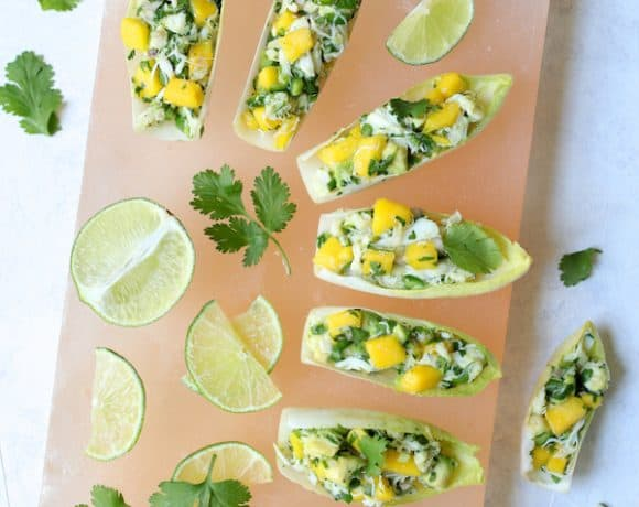 Crab Mango and Avocado Salad with Chile Lime Dressing in Endive