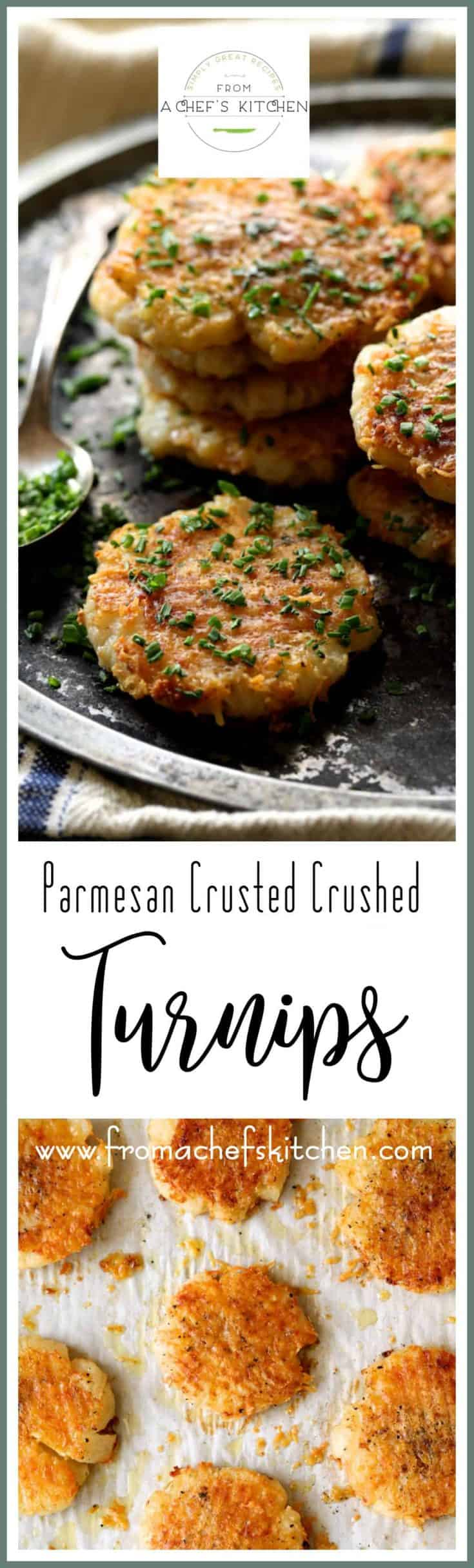 Parmesan Crusted Crushed Turnips are a sophisticated, delicious, low-carb alternative to crushed potatoes!  #parmesan #turnips #lowcarb #vegetable