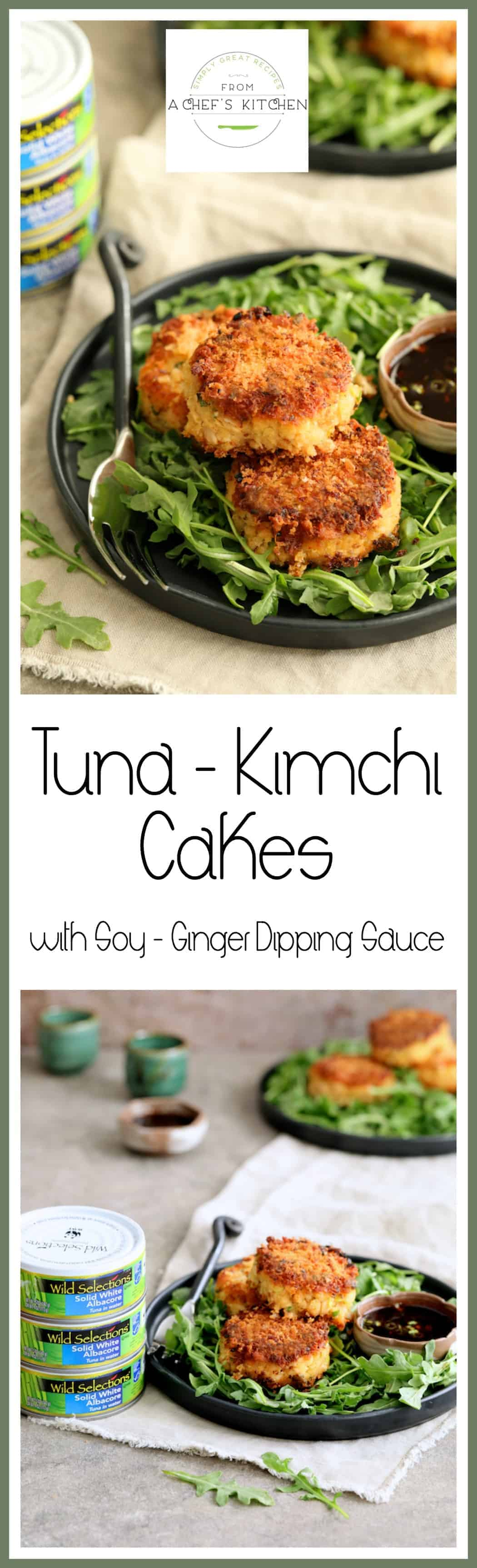 Tuna Kimchi Cakes with Soy Ginger Dipping Sauce are crispy, delicious and packed with flavor! Made withWild Selections® Solid White Albacore Tuna, it's tuna you can feel good about eating.@wildselections (https://www.pinterest.com/wildselections) #WildSelections #SelectSustainable #Ad