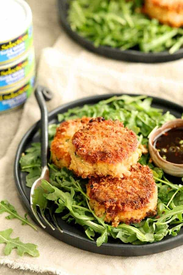 Tuna Kimchi Cakes with Soy Ginger Dipping Sauce - Close-up with Wild Selections tuna in the background