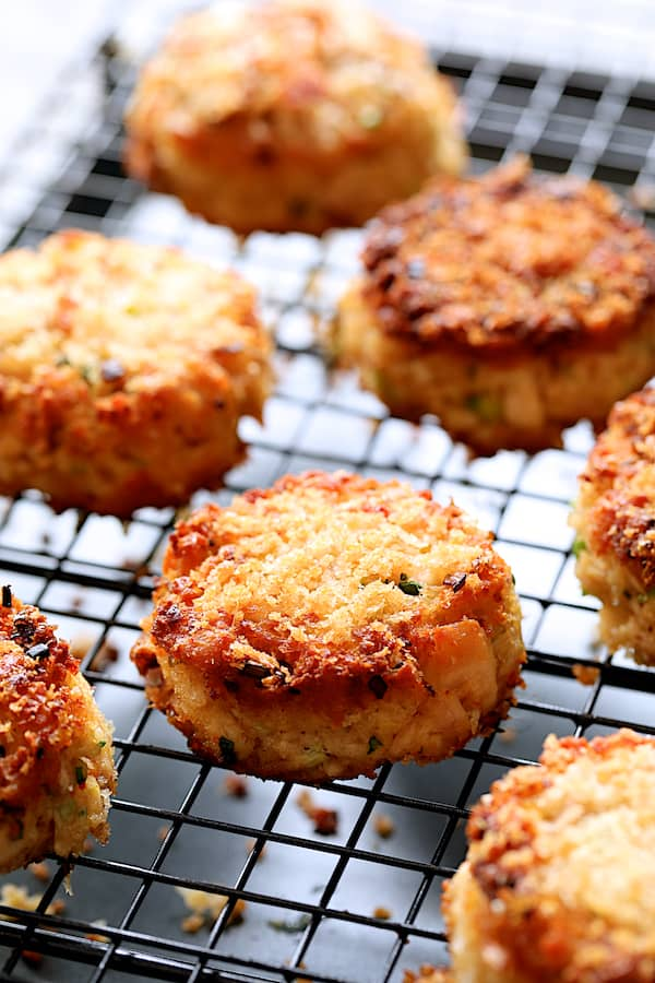Photo of fried Tuna Kimchi Cakes on cooling rack after being fried.