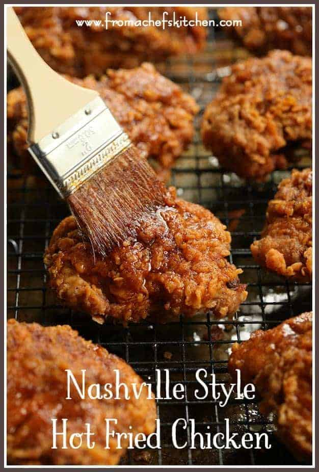 Nashville Style Hot Fried Chicken is famous for its spiciness!  One bite and you'll be hooked!  It will become your favorite fried chicken indulgence for dinner or your next picnic!  #chicken #friedchicken