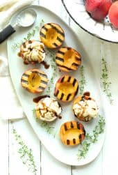 Grilled Peaches with Vanilla Ice Cream and Honey Balsamic Drizzle - Some with ice cream, some drizzled with balsamic honey drizzle