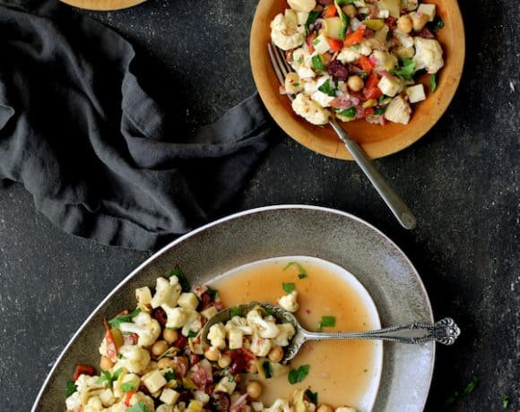 Cauliflower Antipasto Salad - Being served on wood serving plates