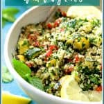 Quinoa Tabbouleh with Grilled Vegetables is a gluten-free twist on traditional tabbouleh! Grilled zucchini, yellow squash and red bell peppers are the perfect addition! #quinoa #tabbouleh #tabouli #salad #vegetable