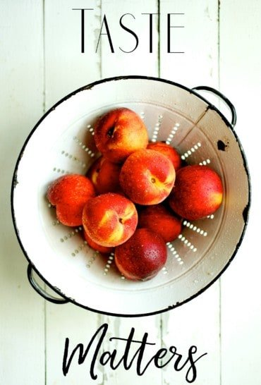 Taste Matters Cover - White Colander with Peaches