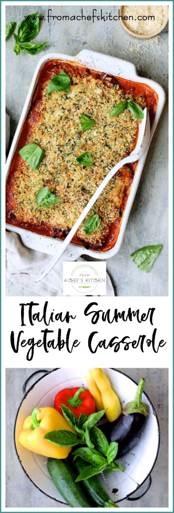 Italian Summer Vegetable Casserole is the best of summer produce in a beautiful Mediterranean-inspired dish!  The vegetables are grilled first for a touch of smokiness, then smothered and layered with marinara sauce and cheese.  This beautiful combination is then baked until bubbling and crusty! #Italian #vegetable #casserole #Mediterranean
