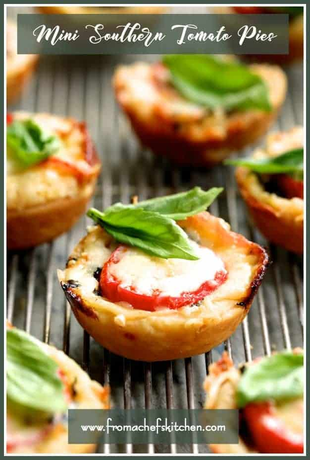 Mini Southern Tomato Pies are an elegant twist on the down-home and iconic Southern Tomato Pie. In mini form, they make a lovely summer appetizer! #tomato #tomatopie #southern #southernfood #appetize