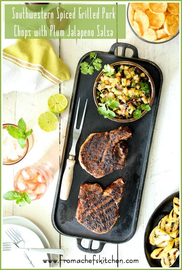 Southwestern Spiced Grilled Pork Chops with Plum Jalapeno Salsa + Summer Entertaining with FarewayMeatMarket.com, Popchips and Southern Breeze #SummerEatsBBoxx #Ad @sbreezetea