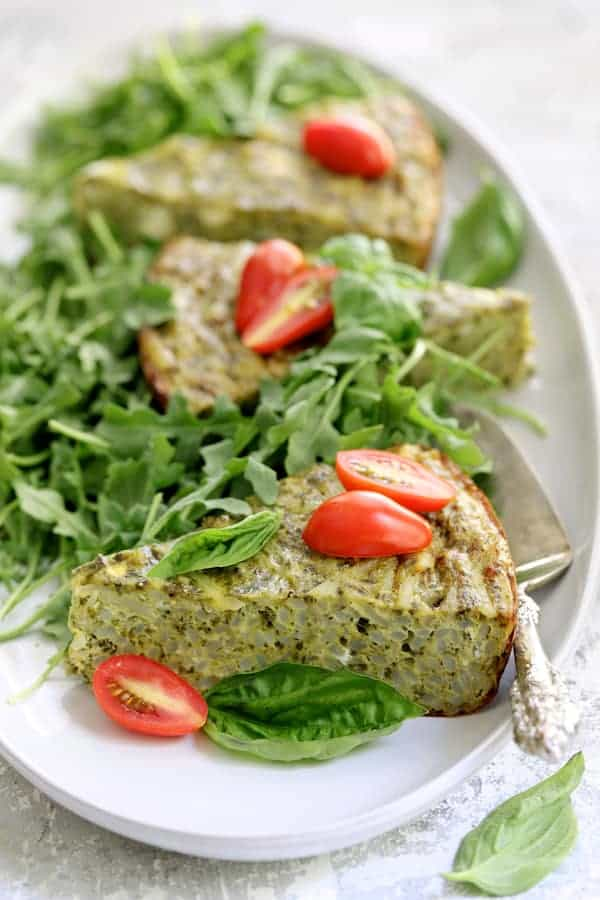 Easy Hash Brown Frittata with Pesto and Goat Cheese