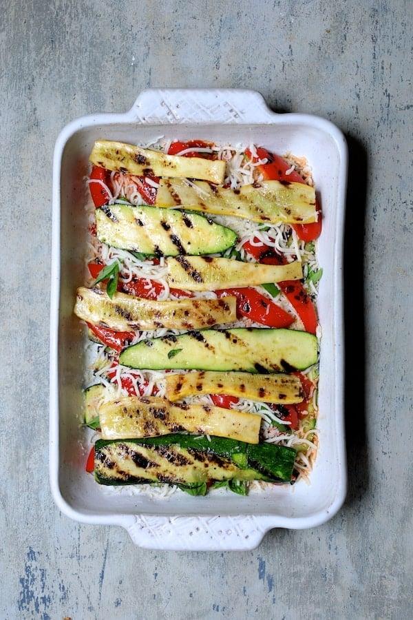 Photo of third layer with more zucchini and yellow squash