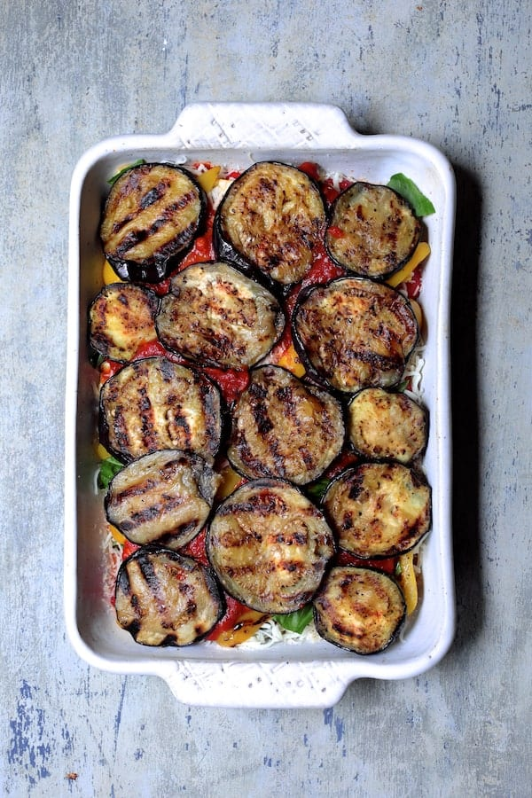 Photo of final vegetable layer with eggplant.