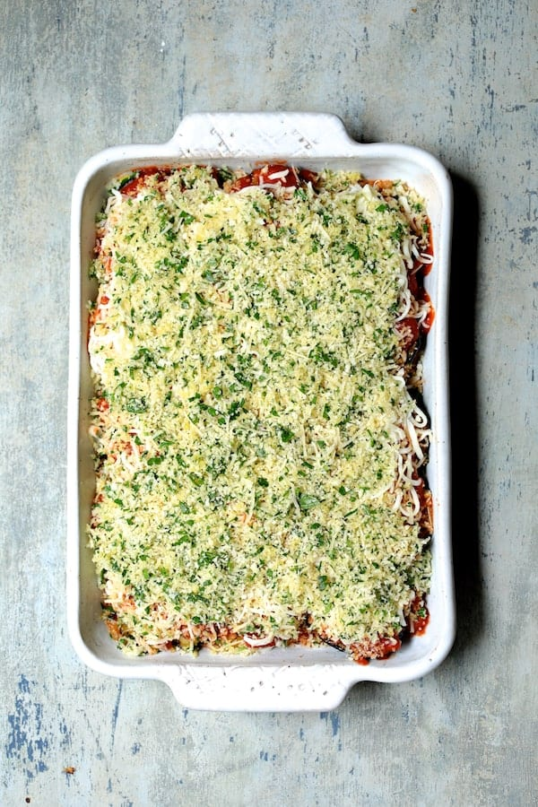 Photo of Italian Summer Vegetable Casserole with breadcrumb topping ready to bake.