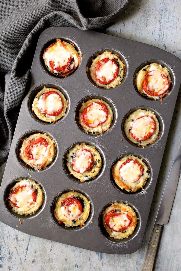Mini Southern Tomato Pies - Baked mini pies still in muffin pan