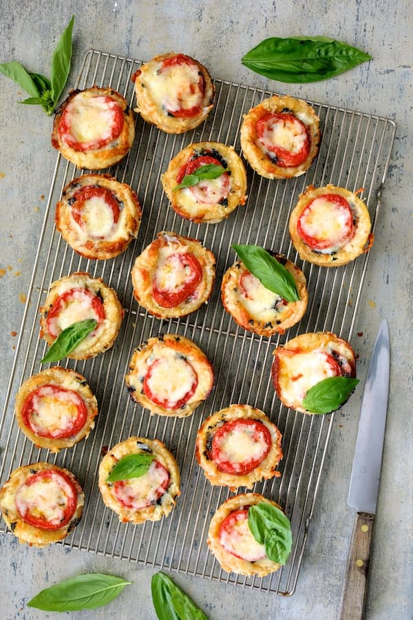Mini Southern Tomato Pies - Baked mini pies on cooling rack