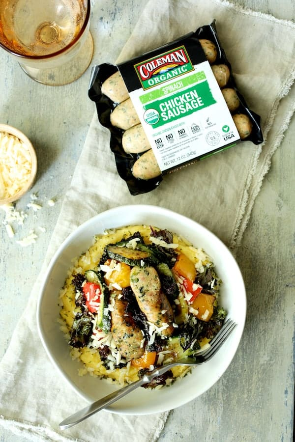 Photo of Mediterranean Sheet Pan Chicken Sausage and Vegetables with Garlic Parmesan Polenta with package of chicken sausage.