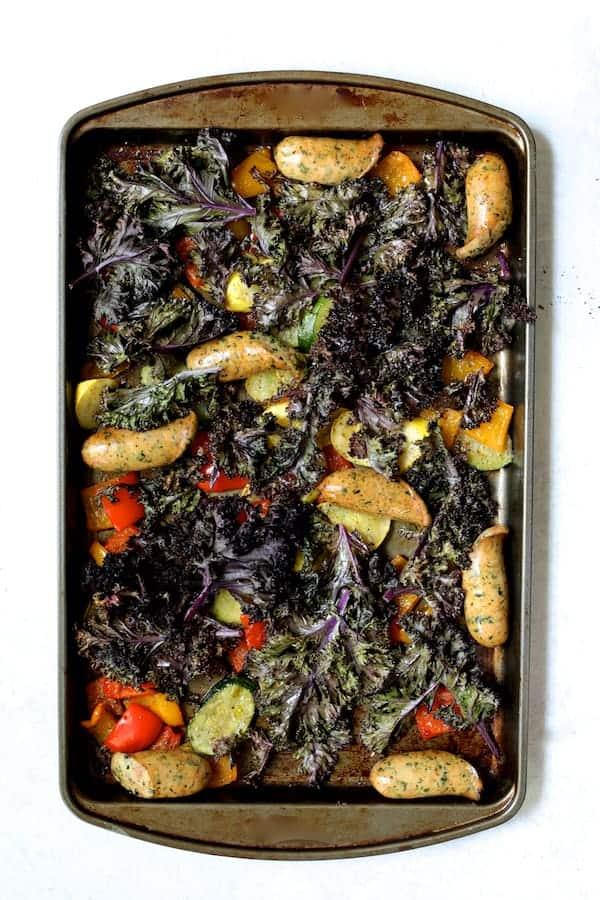 Sheet Pan Mediterranean Chicken Sausage and Vegetables with Garlic Parmesan Polenta - After cooking