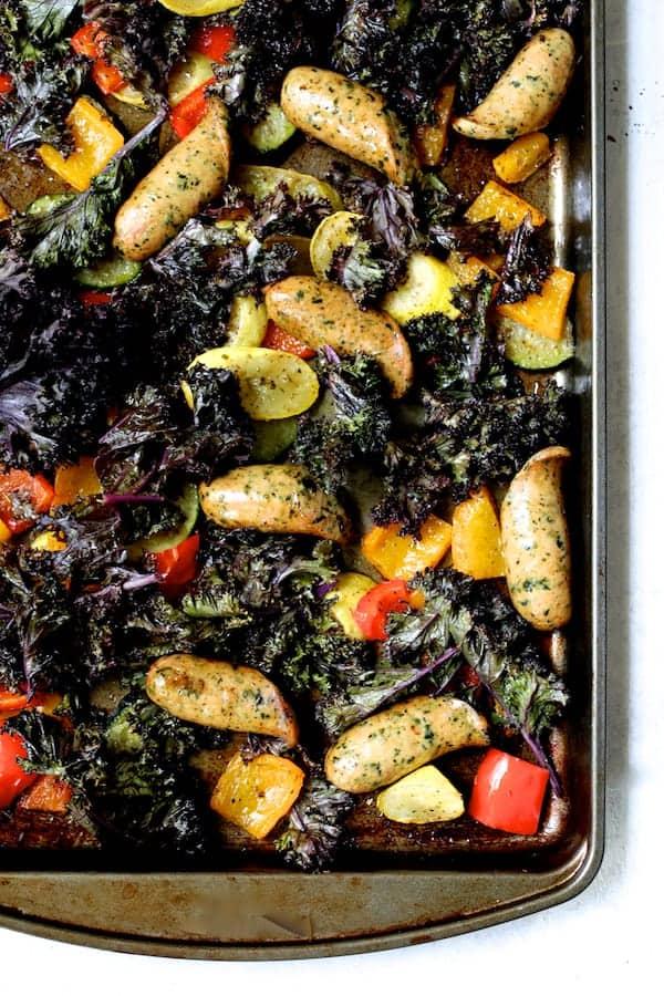 Mediterranean Sheet Pan Chicken Sausage and Vegetables with Garlic Parmesan Polenta - After cooking