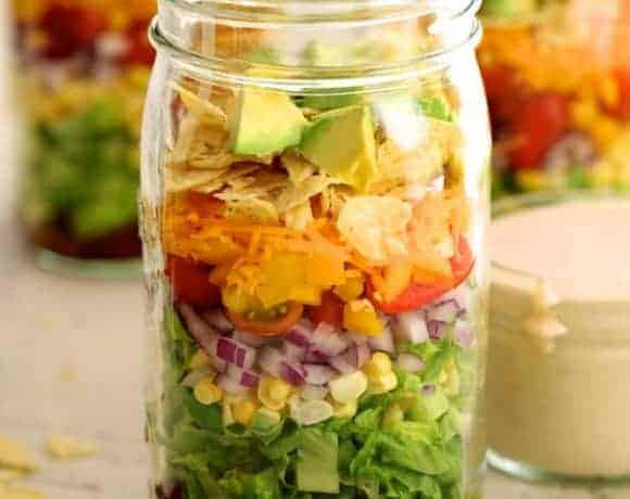 Southwest Layered Salad - Close-up of salad in Mason jar