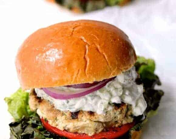 Chicken Zucchini Feta Burgers with Jalapeño Tzatziki - Close-up hero shot