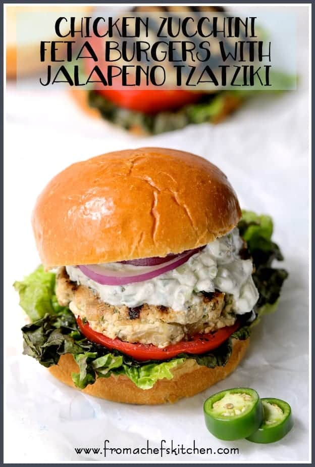 Chicken Zucchini Feta Burgers with Jalapeno Tzatziki are a tasty and healthful way to spice up your summer burger routine!
