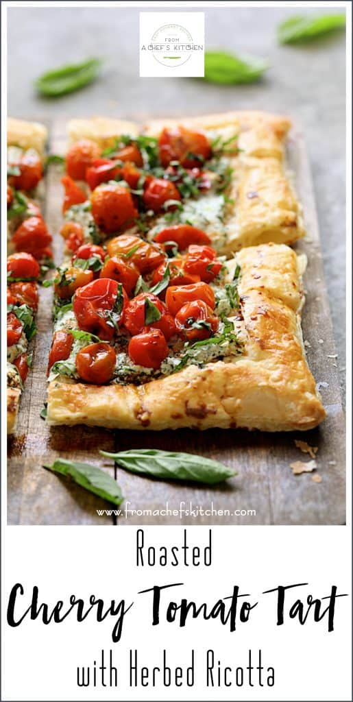 Pinterest image for Roasted Cherry Tomato Tart with Herbed Ricotta