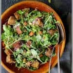 Autumn Panzanella with butternut squash, Brussels sprouts and spicy arugula makes a lovely light fall dinner, side salad or the perfect accompaniment for soup!