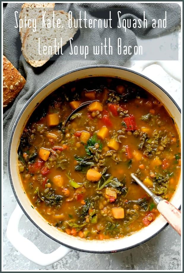Spicy Kale, Butternut Squash and Lentil Soup with Bacon hits all the flavor notes for a tasty and healthful fall dinner! Perfect for when you need some soup goodness!