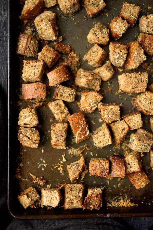 Whole Grain Thyme Rosemary and Parmesan Croutons