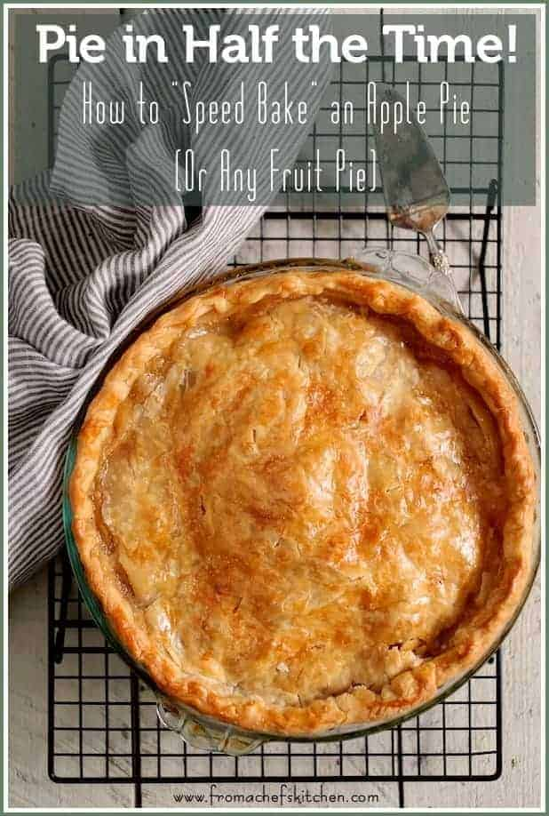 Here's an amazing tip you're going to love and it's just in time for the holidays! Here's how to speed bake an apple pie (or any fruit pie)! Pie in half the time! #pie #applepie #fruitpie