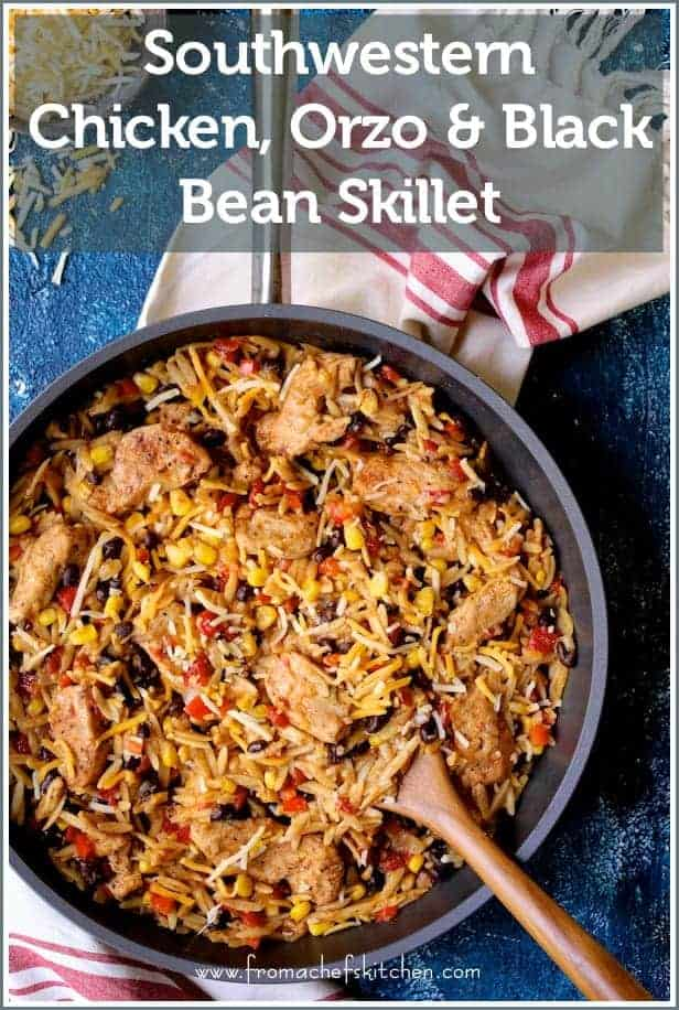 Southwestern Chicken, Orzo and Black Bean Skillet is an easy and festive stovetop dinner that's perfect for a weeknight!  Your family will ask for it again and again! #Ad #Sponsored #Anolon #AnolonInspires #KitchenCreativity #southwestern #chicken #orzo #skilletdinners #blackbeans @Anolon