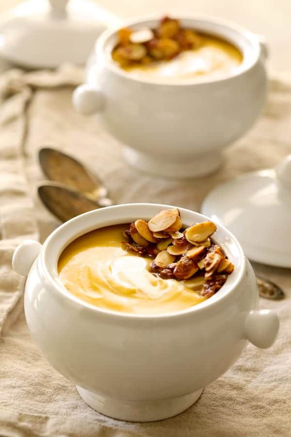 Pumpkin Soup with Marsala and Mascarpone - Side view of soup in bowls