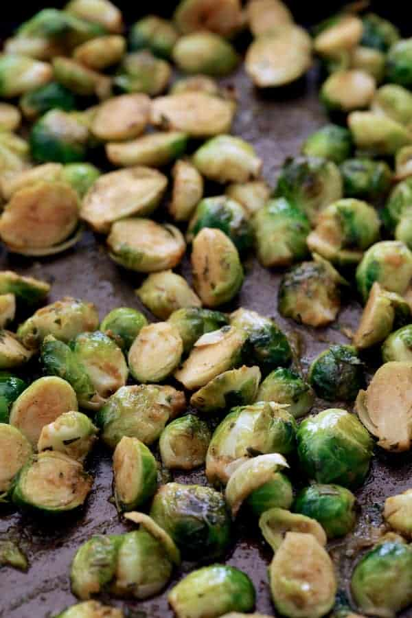 Roasted Brussels Sprouts with Thai Green Curry Butter - On baking sheet after roasting