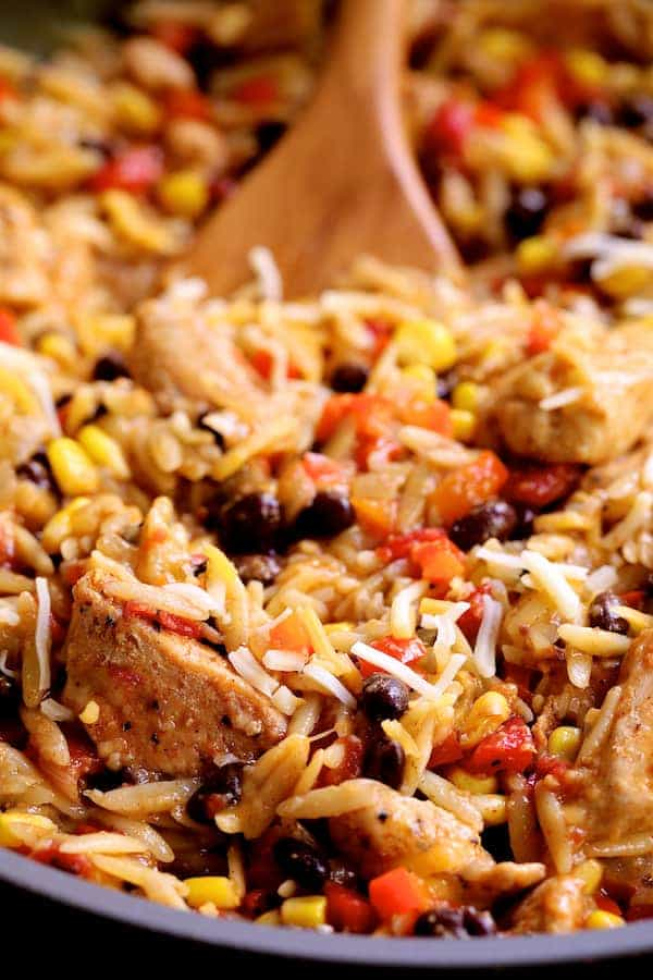 Southwestern Chicken Orzo and Black Bean Skillet - Super close-up of finished dish in skillet