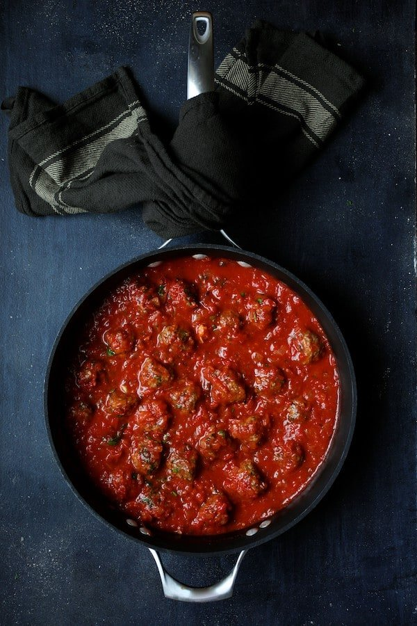 Spiced Meatballs with Tomato Sauce - Another overhead shot of meatballs in sauce in saucepan