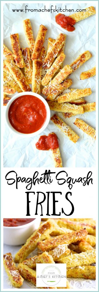 Spaghetti Squash Fries are the perfect snack or side dish for kids of all ages!  A cooking project you can do with your kids, Spaghetti Squash Fries are simply delicious--and addictive!  #spaghettisquash #fries #vegetable